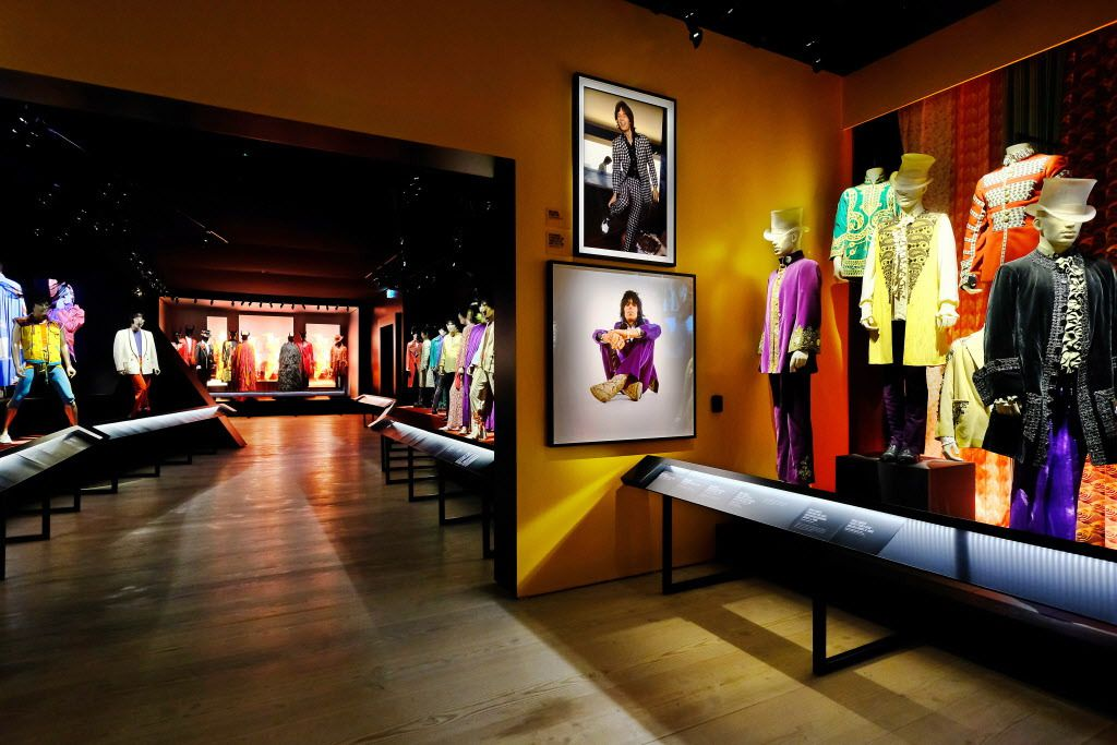 The Style Gallery at Exhibitionism includes 70 original outfits worn by the Rolling Stones, which showcase the stylistic progression and impact the band has had on the fashion world to date.   Courtesy iEC Exhibitions