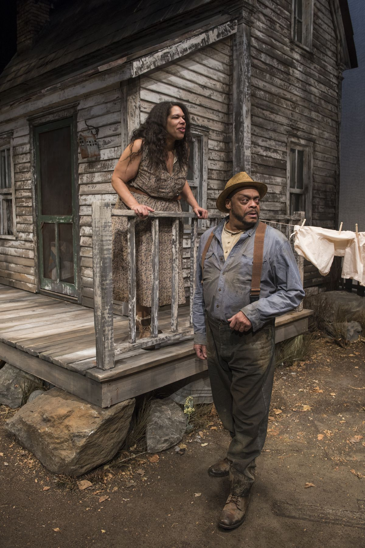 """Josie (Bethany Thomas) and her father Phil (A.C. Smith) are caught up in the turmoil of """"A Moon for the Misbegotten,"""" directed by William Brown at Writers Theatre in 2018."""