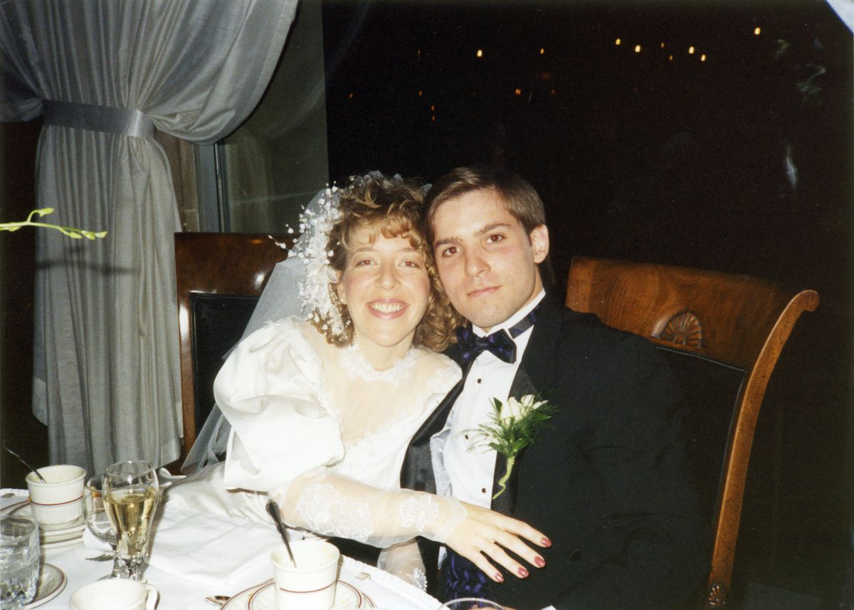 Connie and George Chronis of Palos Park at their wedding in 1991.