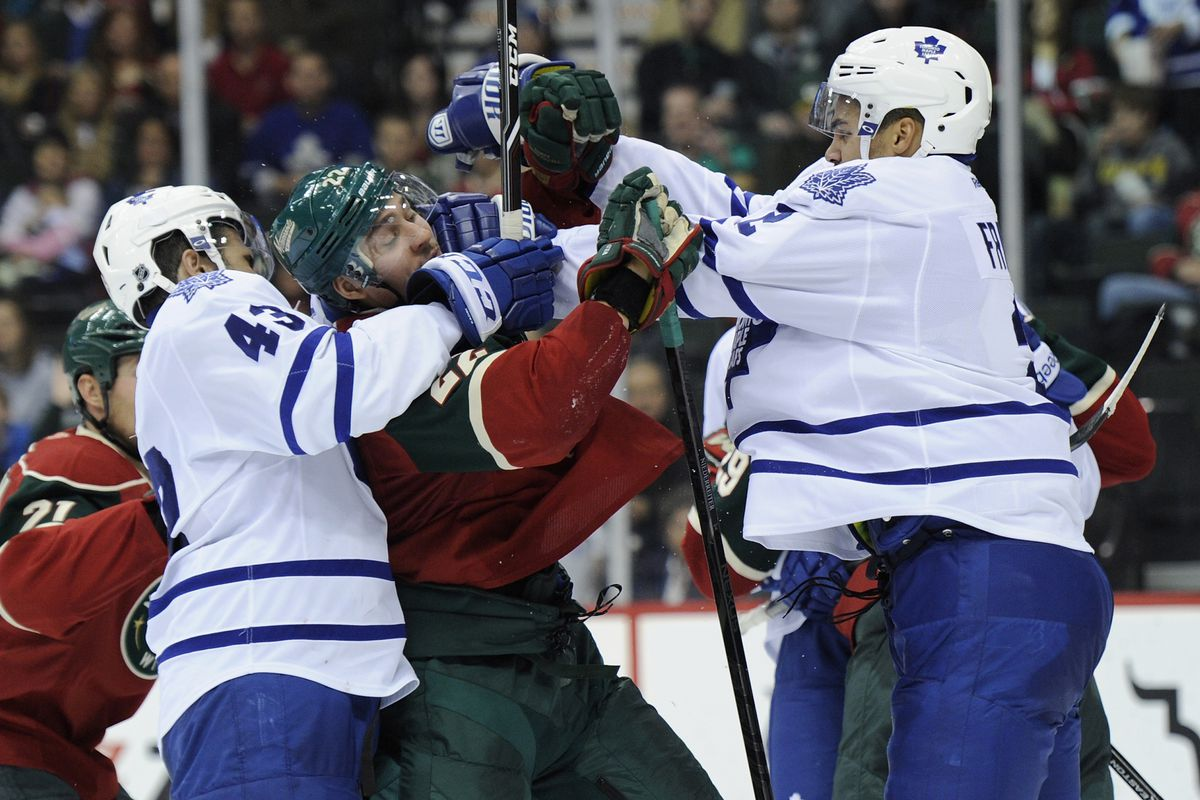 The Leafs kept pushing, but the Wild pushed more pucks into the net. Wild win.