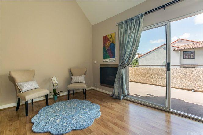 Living room with sliding door