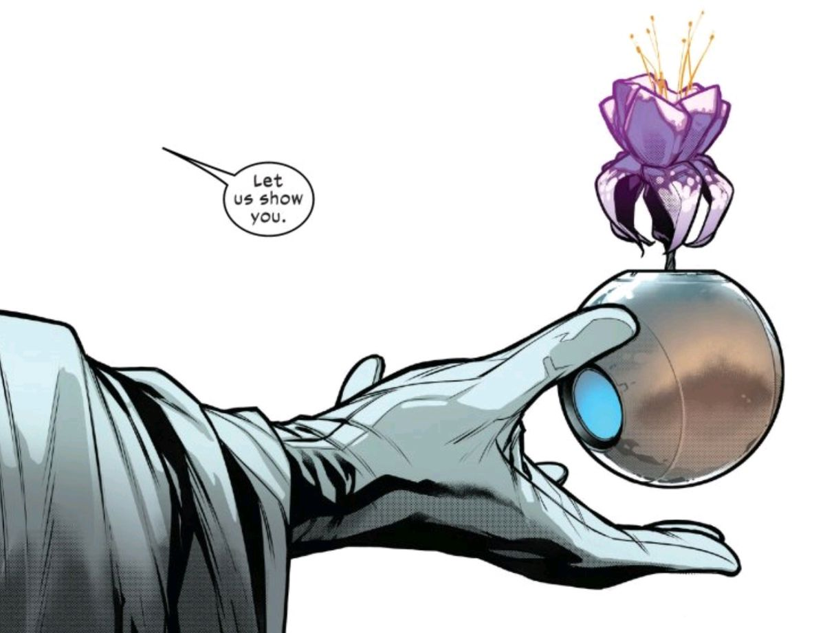 Magneto holds out a metal sphere containing a flower of Krakoa, in Powers of X #5, Marvel Comics (2019).
