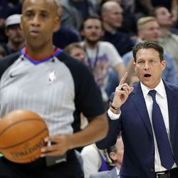Utah Jazz head coach Quin Snyder makes a point to a referee during NBA basketball against the Oklahoma City Thunder in Salt Lake City on Saturday, Dec. 23, 2017.