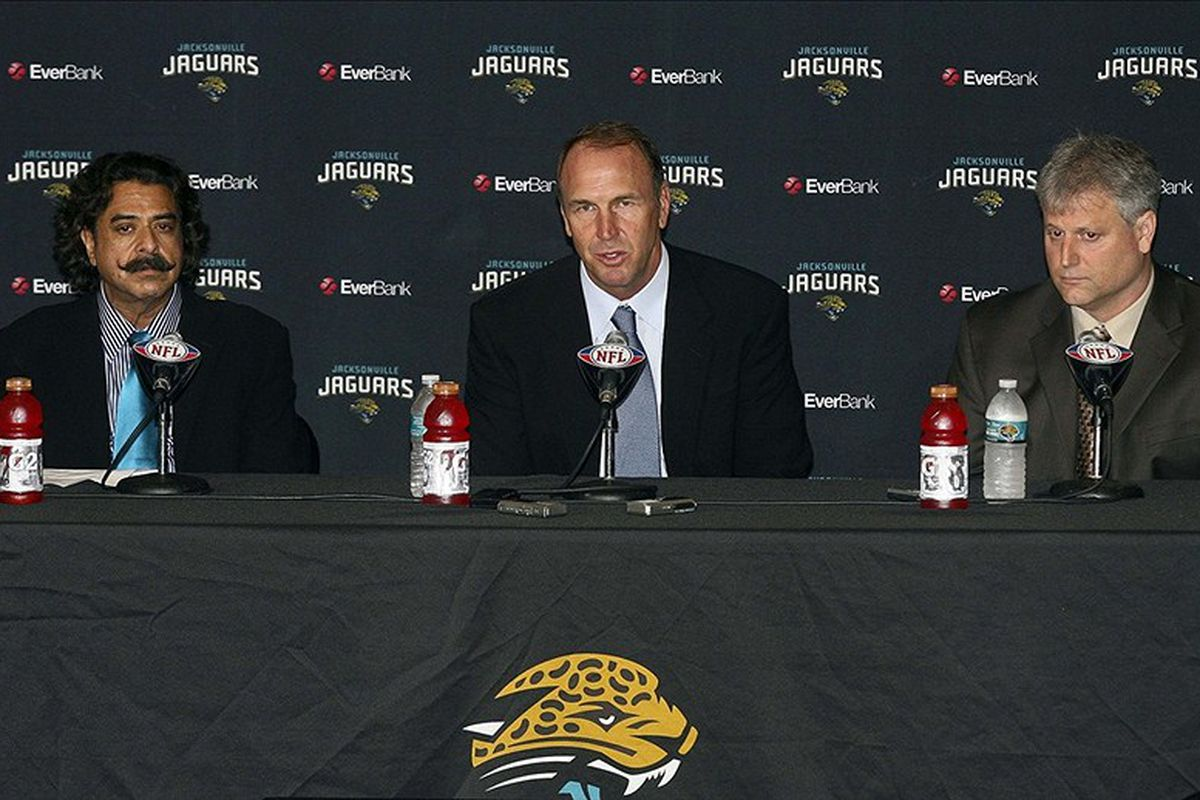 Jan 11, 2012; Jacksonville FL, USA; Jacksonville Jaguars owner Shahid Khan and head coach Mike Mularkey and general manager Gene Smith during a press conference at EverBank Field. Mandatory Credit: Phil Sears-US PRESSWIRE