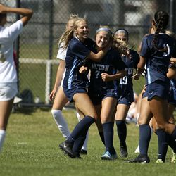 Action in the Layton vs. Davis soccer game at Layton High School in Layton on Thursday, Aug. 27, 2020.