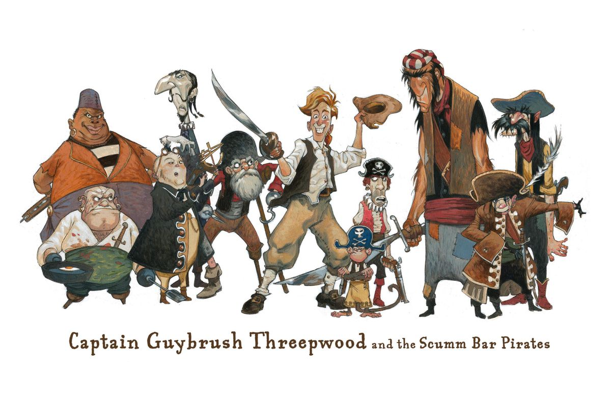 An illustration shows Monkey Island hero Guybrush Threepwood standing with a group of pirates
