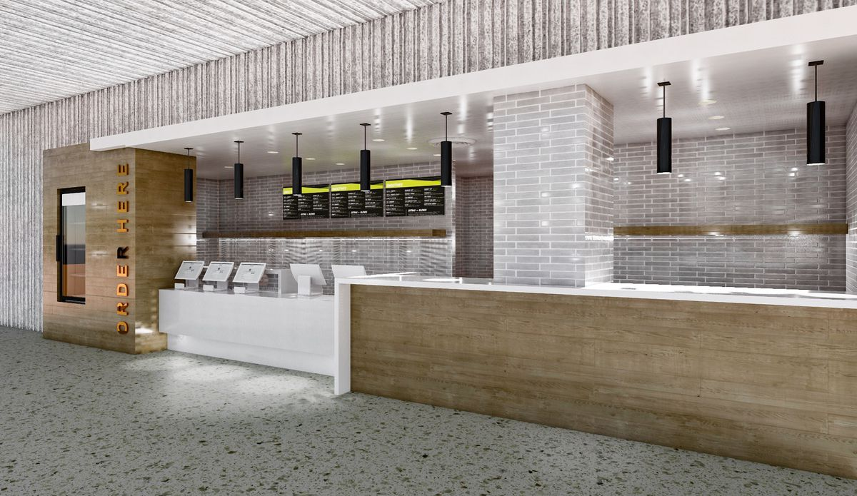 An illustration of a long white counter with wood accents and walls plus black tubular pendant lights hanging from this ceiling.