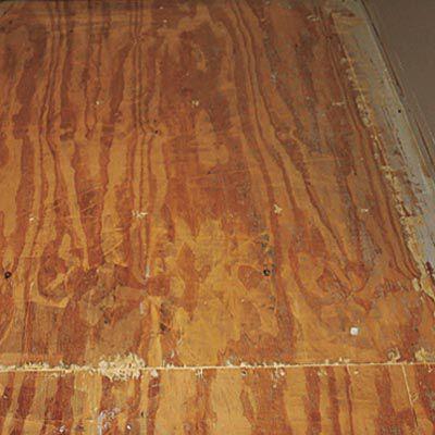 Old Bathroom Plywood Subfloor