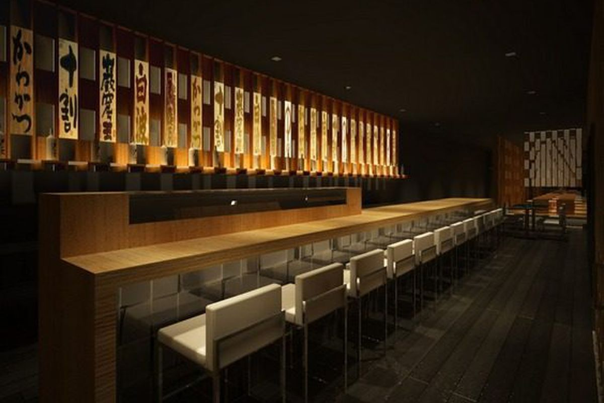 At the bar, black wood on the floors, ash oak on the bar top.
