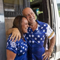 Lorri, left, and Dean Zenoni talk at their home in Sandy on Tuesday, Sept. 7, 2021, about their recent bicycle trip from the Canadian border to the Mexican border.