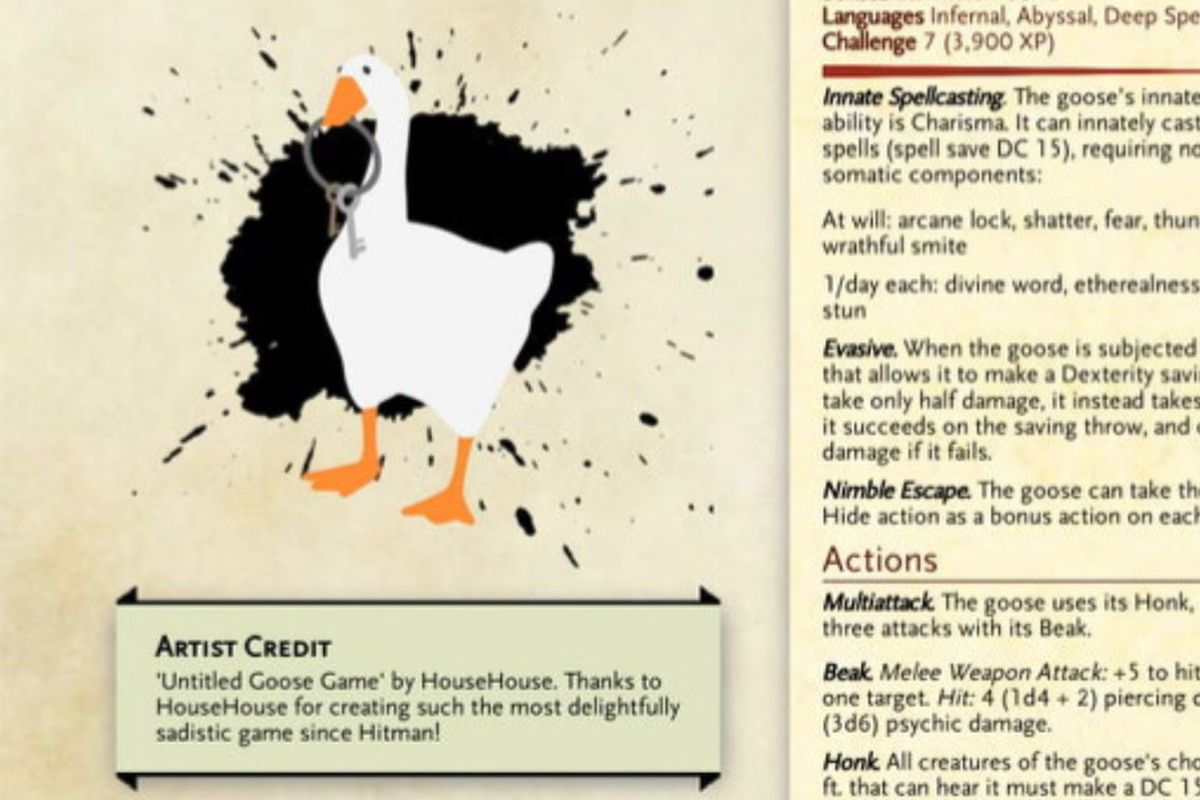 Text and biography of a parody Dungeons & Dragons character sheet for the goose from Untitled Goose Game