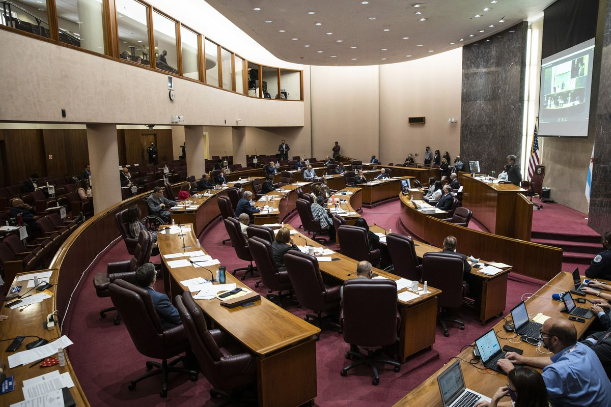 The Chicago City Council is shown at its meeting on Wednesday, July 21, 2021, at which it created a mechanism for civilian oversight of the Chicago Police Department.