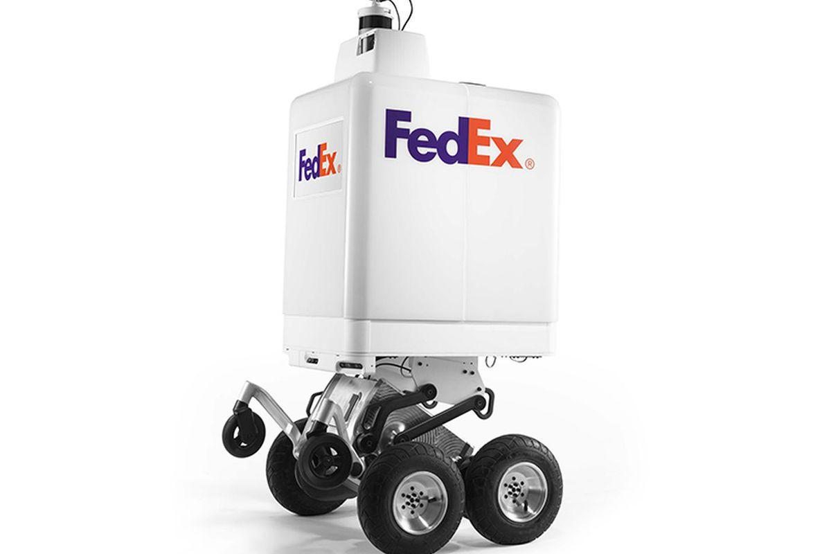 White FedEx robot