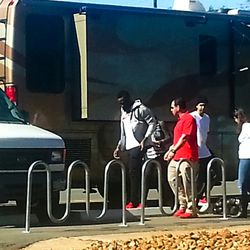 James Harden on set at a Foot Locker commerical in Houston.