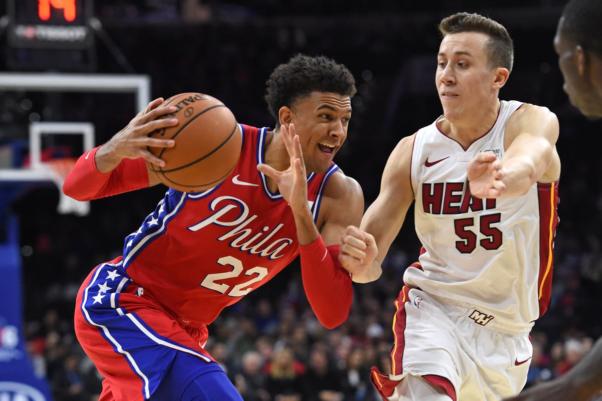 Philadelphia 76ers guard Matisse Thybulle drives to the basket against Miami Heat forward Duncan Robinson during the fourth quarter at Wells Fargo Center.
