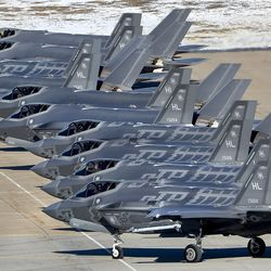 F-35A Lightning IIs from Hill Air Force Base's 388th and 419th fighter wings line up during a combat power exercise at the base near Ogden on Monday, Jan. 6, 2020. During the exercise, 52 F-35A Lightning IIs launched within a condensed period of time.