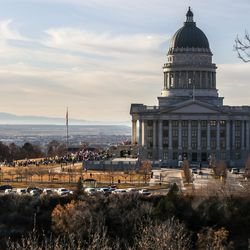 Supporters of President Donald Trump rally at the Capitol in Salt Lake City on Wednesday, Jan. 6, 2021.