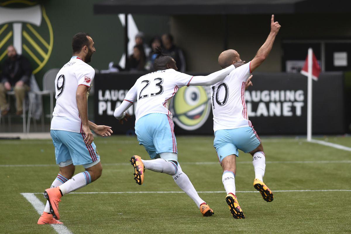 Kamara and Higuain celebrating a goal against Portland, what used to be...