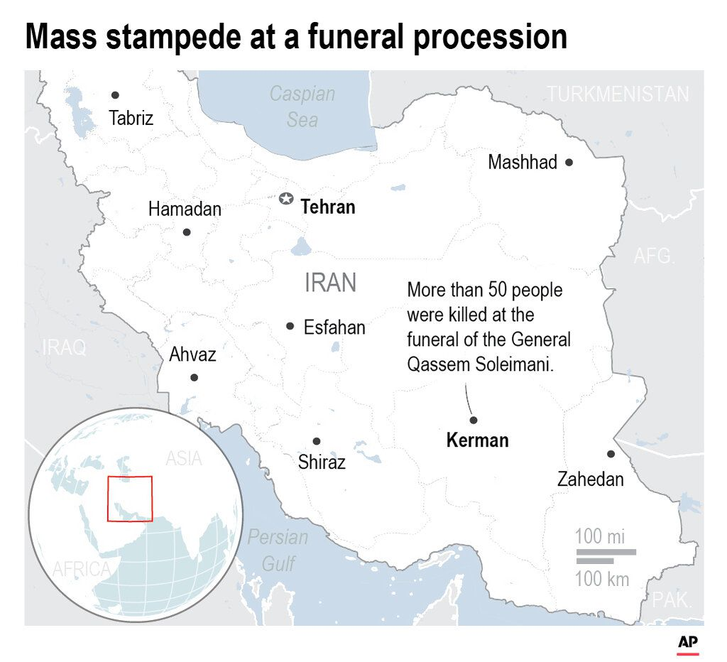 A stampede at a funeral procession for a top Iranian general killed in a U.S. airstrike last week has killed 40 people.