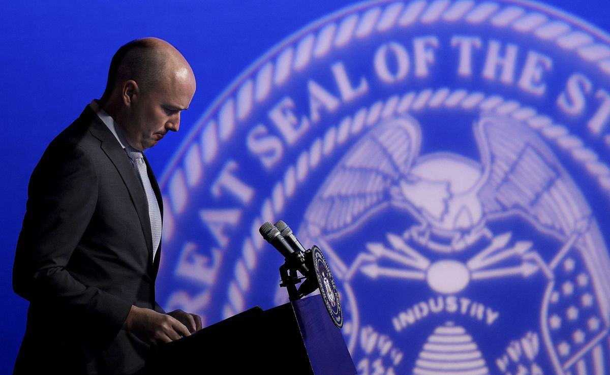 Gov. Spencer Cox speaks during the PBS Utah Governor's Monthly News Conference at the Eccles Broadcast Center in Salt Lake City on Thursday, June 17, 2021.