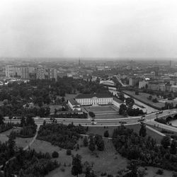 Seen from a helicopter, Bellevue Palace, once Hitler's guesthouse, was reconstructed from the ruins of World War II and is now the residence of President of the West German Federal Republic, Heinrich Luebke in West Berlin on August 10, 1961.