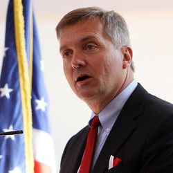 Rep. Jim Matheson speaks during a Memorial Day Chapel ceremony at Camp Williams, Monday, May 27, 2013. Matheson announced on Tuesday, Dec. 17, 2013, that he will not seek re-election in 2014.