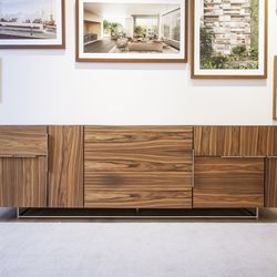 A cabinet in the sales office that was designed by Weinfeld, one of the architect's occasional dabbles in furniture design.