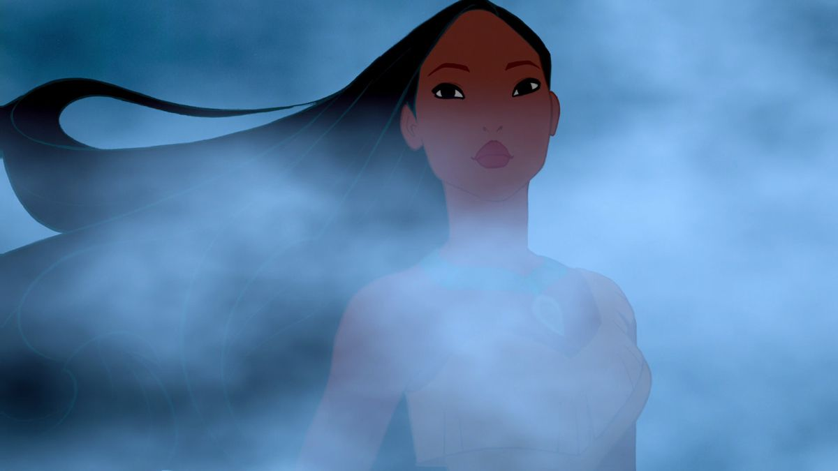 pocahontas with her hair billowing in the wind