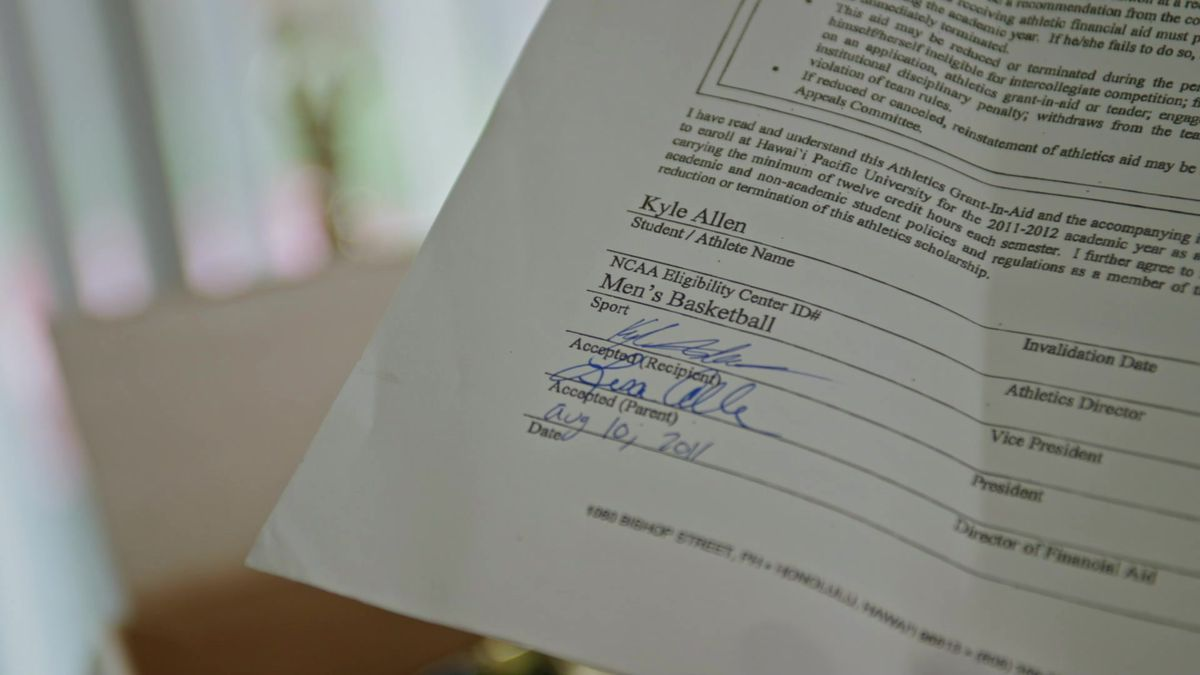 Kyle's scholarship contract, 2011