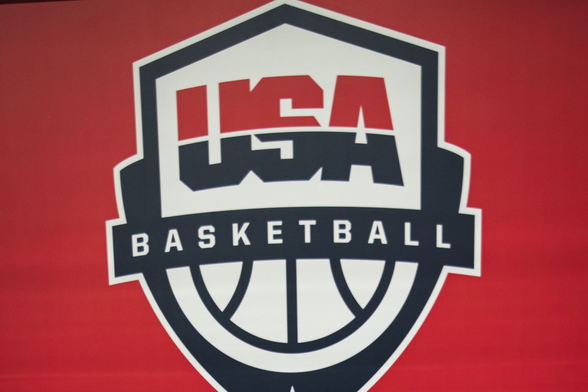 A detailed view of USA Basketball signage for the FIBA AmeriCup Qualifying game between the United States and Puerto Rico at Entertainment & Sports Arena on February 23, 2020 in Washington, DC.