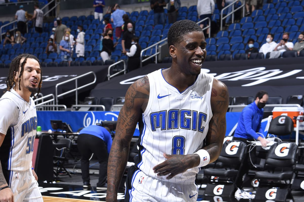 Dwayne Bacon of the Orlando Magic smiles during the game against the Memphis Grizzlies on May 1, 2021 at Amway Center in Orlando, Florida.