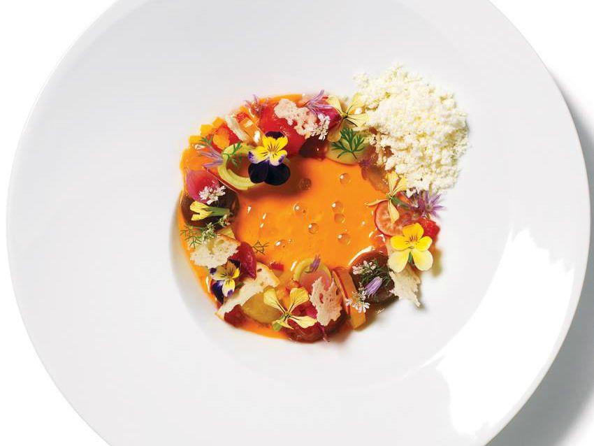 Heirloom tomato gazpacho at La Bodega by Salts