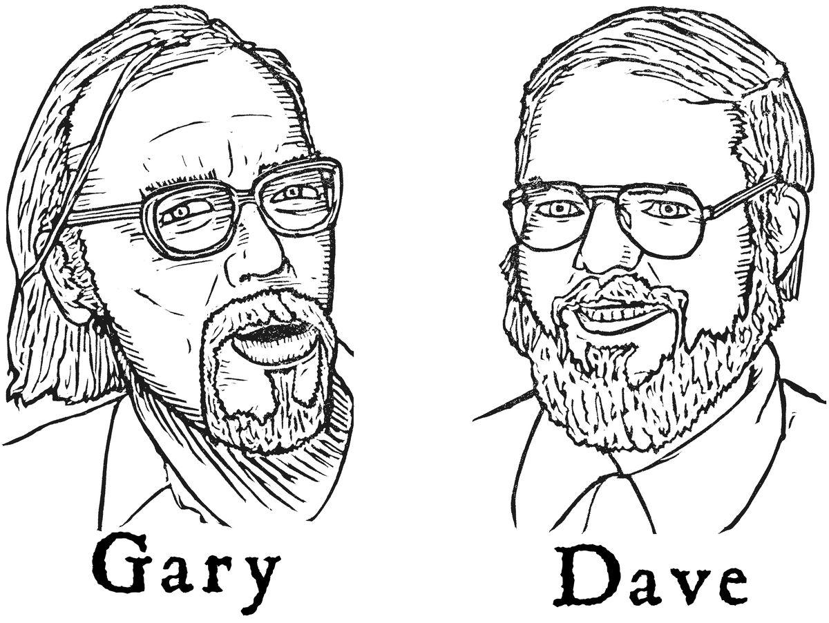 Wood block prints of Gary Gygax and Dave Arneson.