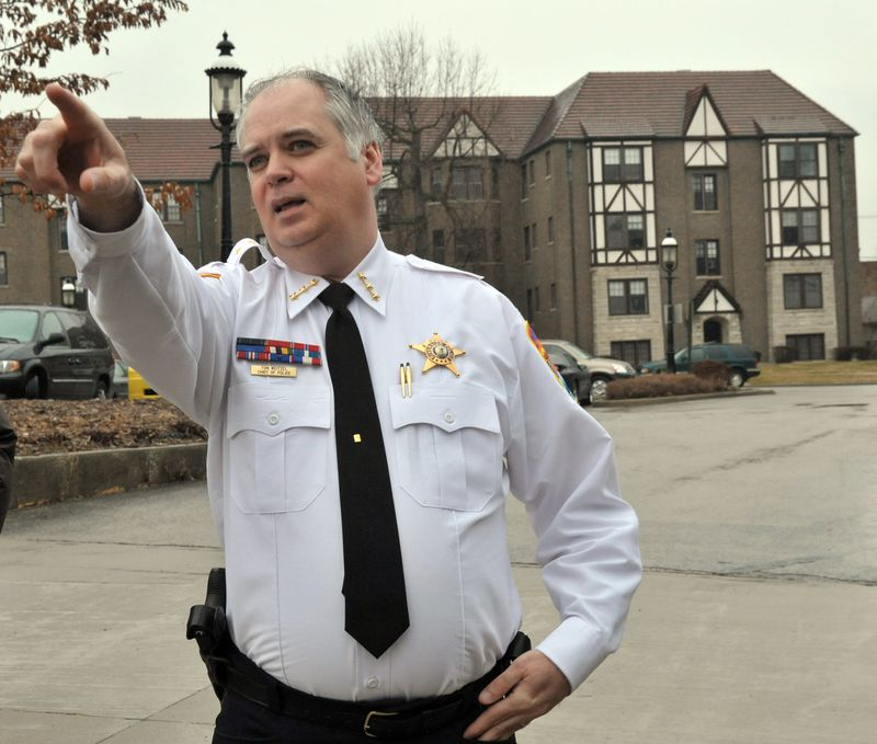 Riverside police Chief Tom Weitzel in 2012, when he was running a west suburban gang task force and said the Chicago Police Department's success in driving gangs from the city was hurting the suburbs.