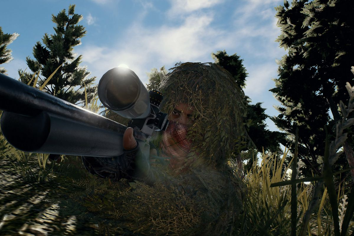 A screenshot of a sniper wearing a ghillie suit in Playerunknown's Battlegrounds