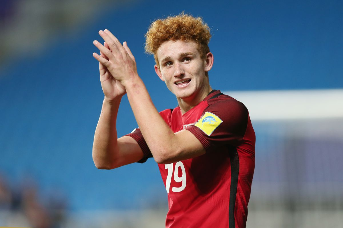 INCHEON, SOUTH KOREA - MAY 25: Joshua Sargent of USA celebrates after scoring their first goal during the FIFA U-20 World Cup Korea Republic 2017 group F match between Senegal and USA at Incheon Munhak Stadium on May 25, 2017 in Incheon, South Korea. (Photo by Alex Morton - FIFA/FIFA via Getty Images)