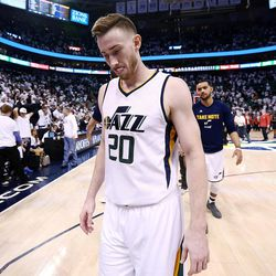 Utah Jazz forward Gordon Hayward (20) walks off the floor after the Utah Jazz fall to the LA Clippers in game 6 of the NBA playoffs 98-93 at Vivint Smart Home Arena in Salt Lake City on Friday, April 28, 2017.