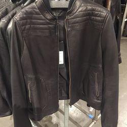 Black Logan leather jacket, $495