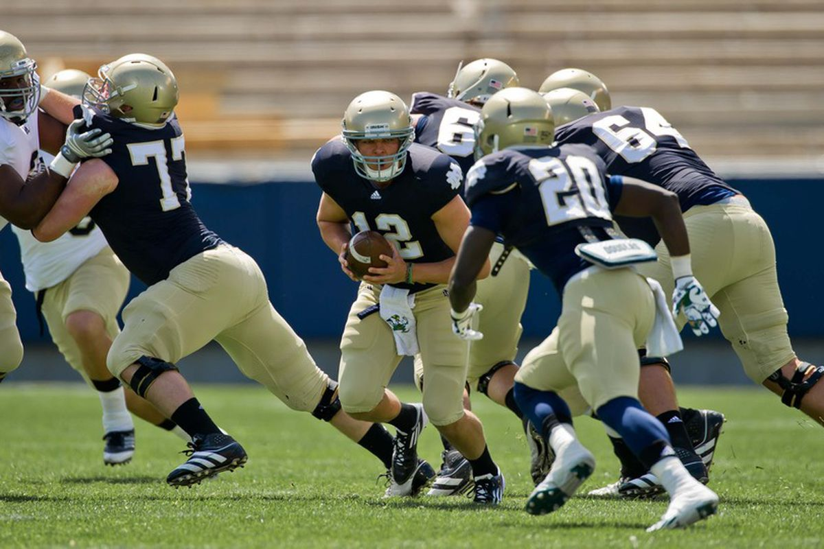 Apr. 21, 2012; South Bend, IN, USA; Notre Dame Fighting Irish quarterback Andrew Hendrix (12) prepares to hand off the ball in the first quarter of the Blue-Gold Game at Notre Dame Stadium. Mandatory Credit: Matt Cashore-US PRESSWIRE