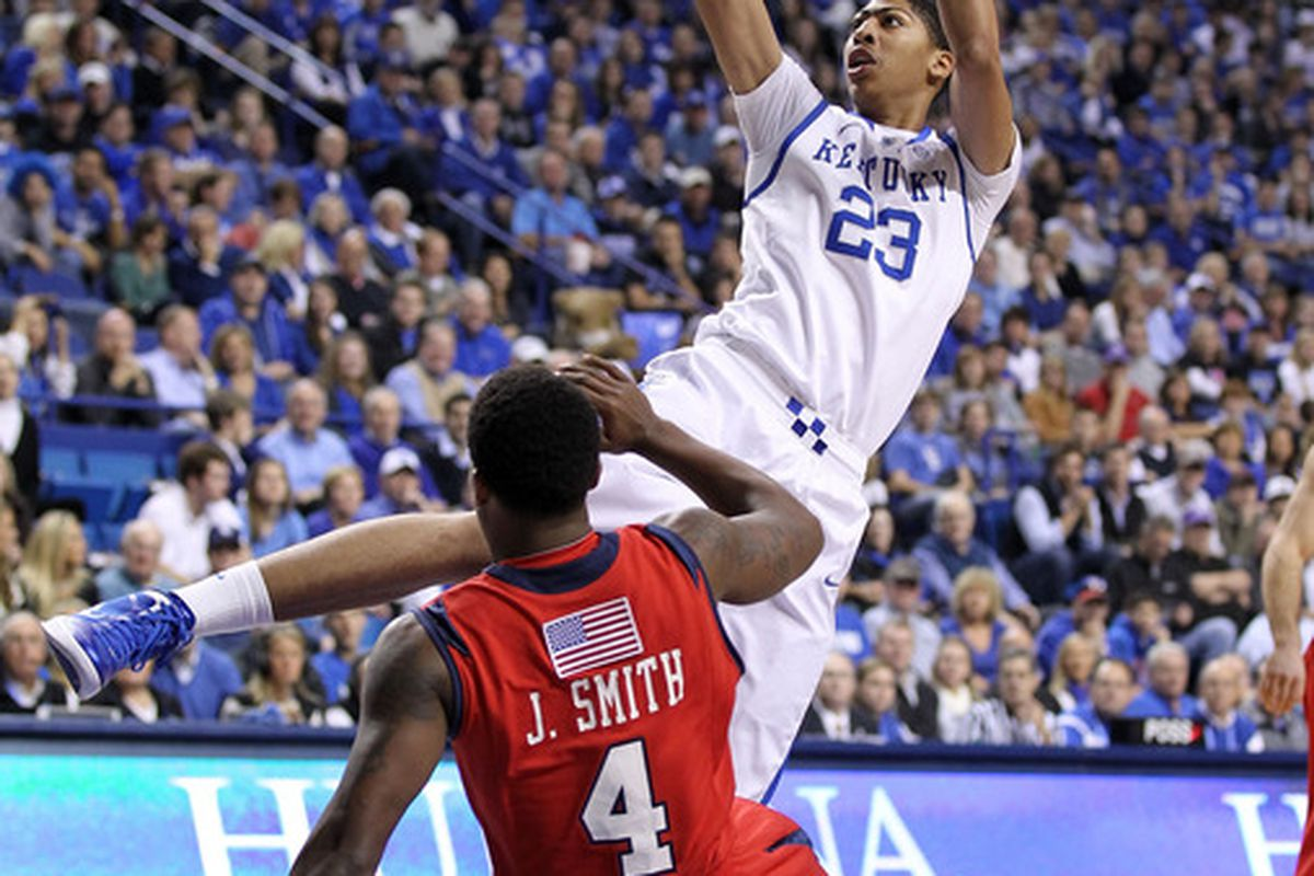 Anthony Davis #23 of the Kentucky Wildcats shoots the ball during the game against the Radford Highlanders at Rupp Arena on November 23, 2011 in Lexington, Kentucky.