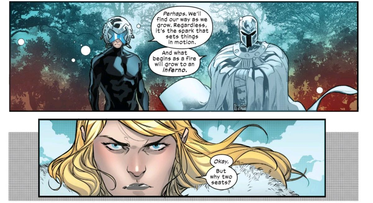 Professor X, Magneto, and Emma Frost discuss how much political power she'll wield in Krakoa as part of their agreement, in Powers of X #5, Marvel Comics (2019).
