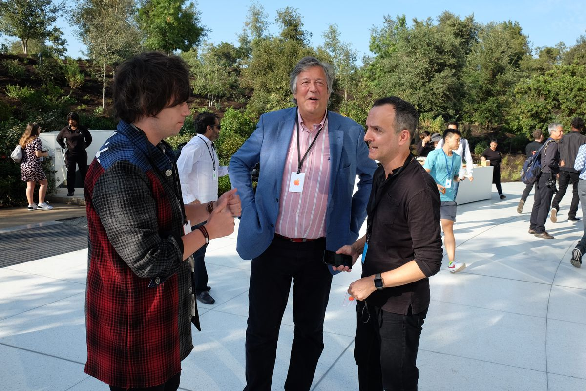 Stephen Fry at the Steve Jobs Theater at Apple Park, iPhone X event, Sept. 12, 2017