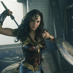"""This image released by Warner Bros. Entertainment shows Gal Gadot in a scene from """"Wonder Woman."""" """"Wonder Woman"""" wrapped up Tom Cruise""""™s """"The Mummy"""" at the weekend box office, pulling in an estimated $57.2 million in North American theaters."""