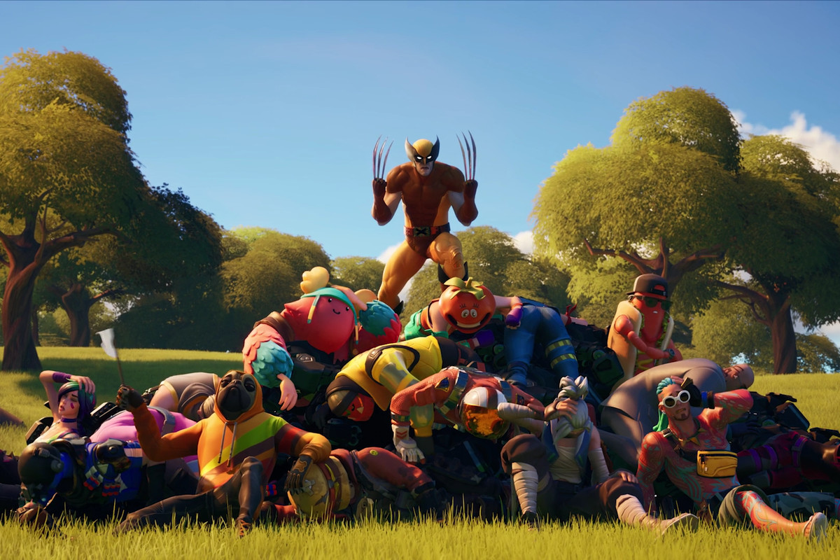 Wolverine standing on top of a pile of dead Fortnite players