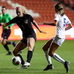 Davis' Grace Nicol scores on Pleasant Grove, putting Davis up 3-0 in a 6A girls soccer semifinal game at Rio Tinto Stadium in Sandy on Tuesday, Oct. 20, 2020.