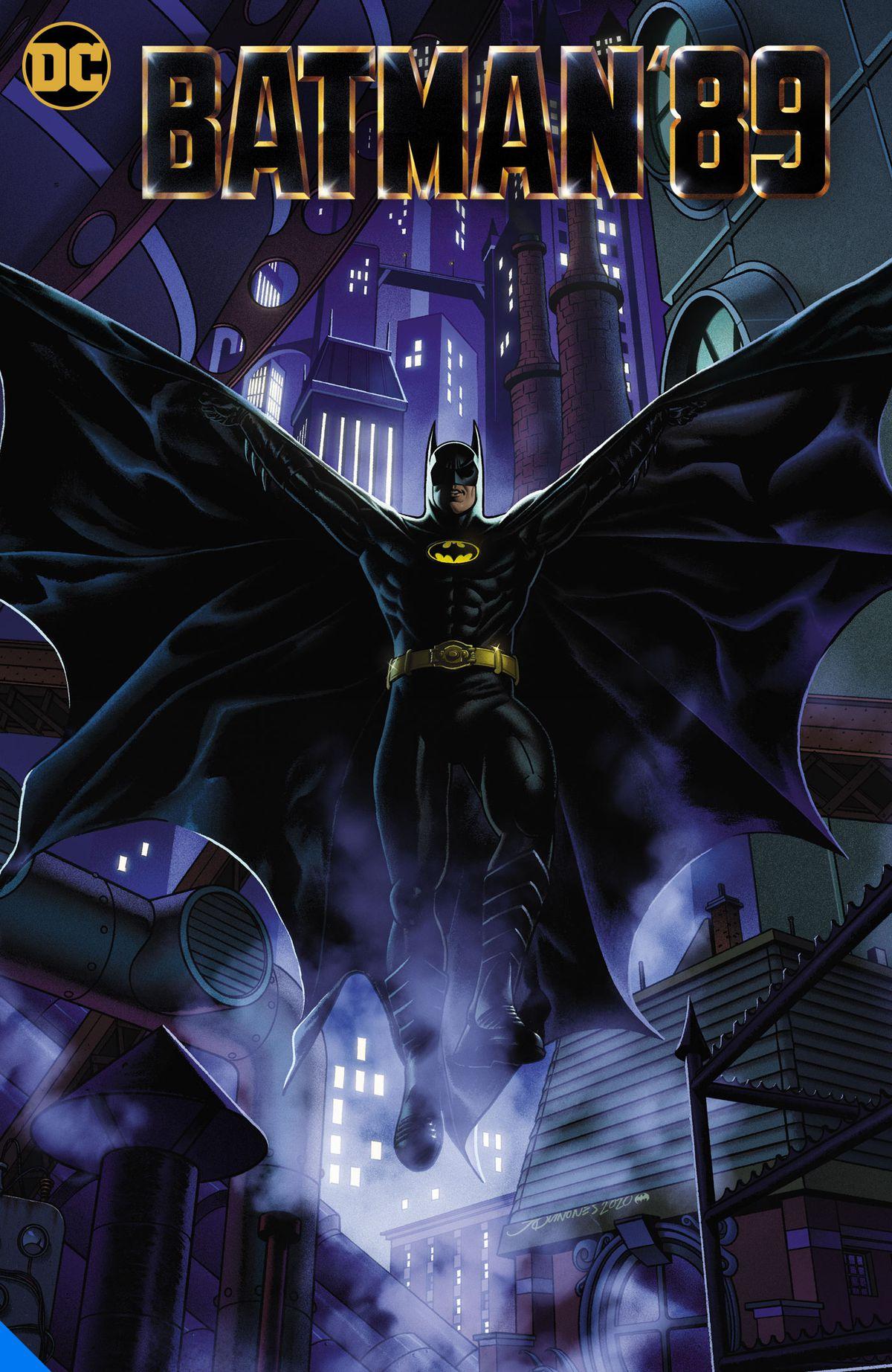 Batman 89 comics cover of Keaton's batman swooping down in front of skyscrapers from DC Comics