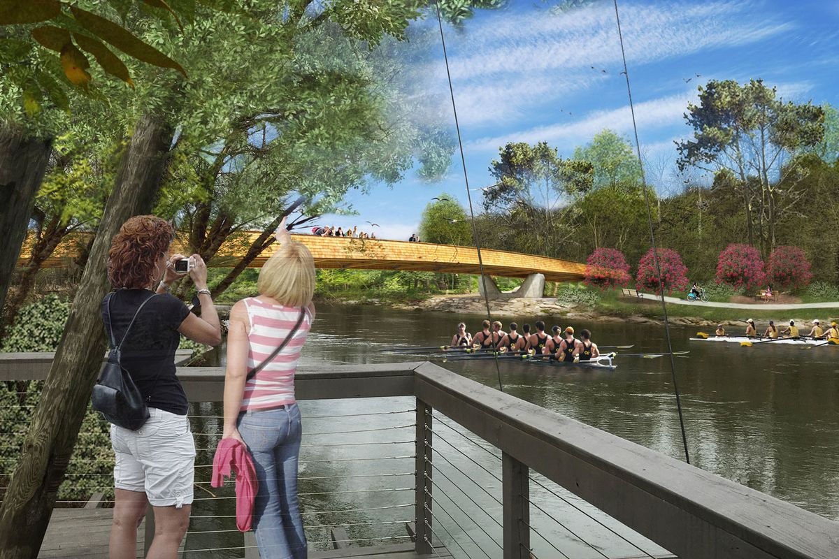 A rendering of a wooden and concrete bridge over the river.