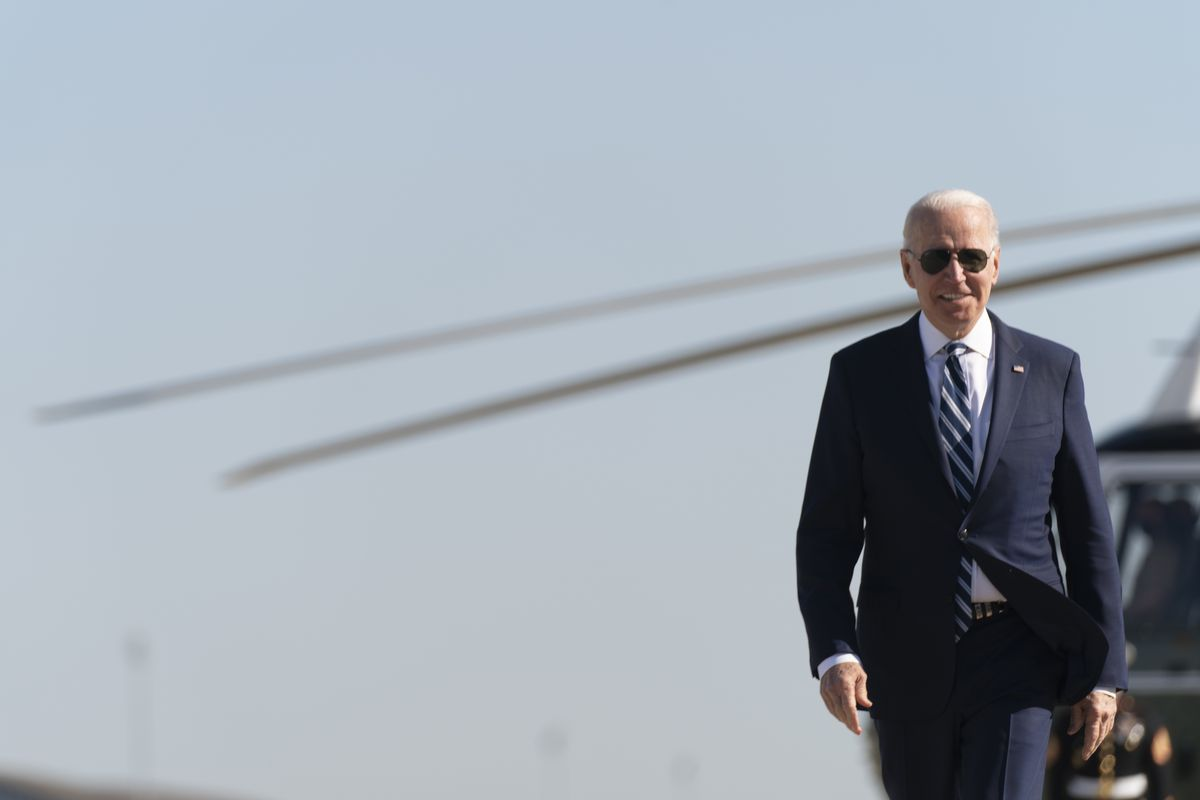 President Joe Biden arrives to board Air Force One at Andrews Air Force Base, Md., Wednesday, May 19, 2021. Biden is traveling to attend the commencement for the United States Coast Guard Academy in New London, Conn.