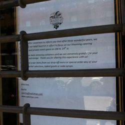 Sign in the window of Radish.