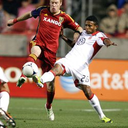 Nat Borchers of Real Salt Lake fights to control the ball against Lionard Pajoy of DC United during their MLS matchup at Rio Tinto Stadium in Sandy Saturday, September 1, 2012
